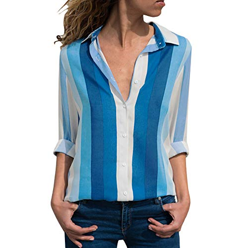 Women Casual Long Sleeve V-Neck Button Up Striped Shirt Blouse -