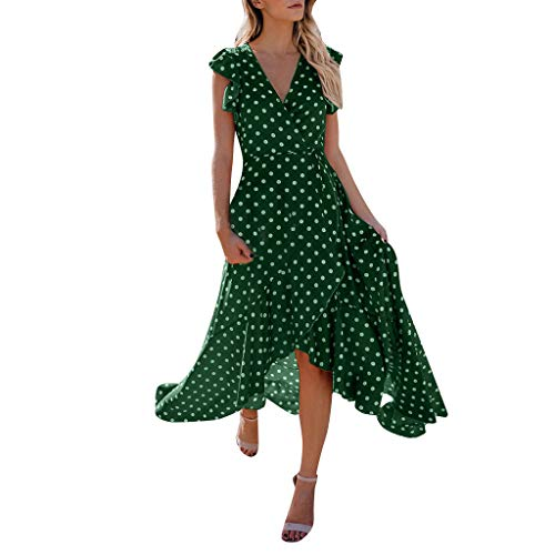 (WOCACHI Womens Dresses Polka Dot V-Neck Elegant High-Low Maxi Long Dress Flutter Sleeve Pleated 2019 Summer New Deals Casual Boho Loose Party Evening Homecoming Gown)