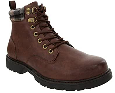 London Fog Mens Chiswick Cold Weather Memory Foam Snow Boot Brown 8