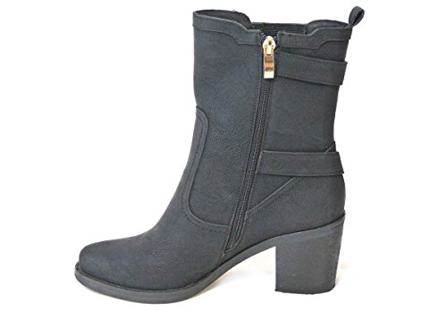 7 4 Chelsea Black Boots UP Ankle Size SKO'S Cowboy Worker Boots Distressed Flat Lace 5 Ladies Cy018 Riding Boots Cuban Womens Biker Calf Combat 6 3 Mid 8 Biker x65 Zip Ankle qwC8pBSnq