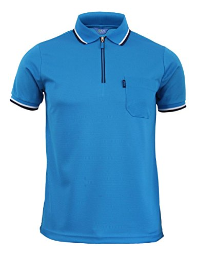 BCPOLO Fresh zipper Neck Style Polo T-shirt Mens Sportswear Functional Coolon T-shirt-blue XXL