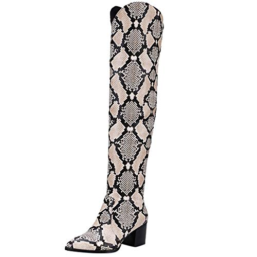 Sunmoot Women's Snakeskin Faux Leather Over The Knee Boots Chunky Square High Heels Booties Beige (High Womens Boot Heel Snakeskin)