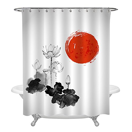MitoVilla Asian Inspired Decor for Bathtub, Watercolor Lotus Flowers and Red Sun Painting Print Shower Curtain Set with Hooks, Black White Bathroom Accessories, Waterproof Polyester Fabric, 72 x 78