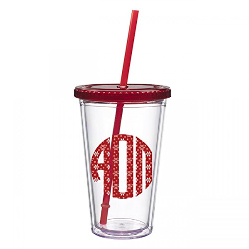 Alpha Omicron Pi Sorority Snowflake Monogram Sticker Decal on Clear Tumbler Red Lid Christmas Holiday Greek 16 oz. - Coach Store Policy Return