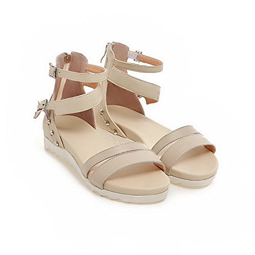 AmoonyFashion Womens Open Toe Low Heels Soft Material Solid Zipper Sandals Beige v7Qw1rXm