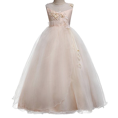 HUANQIUE Girls Wedding Bridesmaid Dresses Flower Girl Pageant Maxi Gowns Champagne 9-10 Years