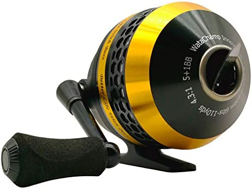 WataChamp Bees/Frog Spincast Fishing Reel,High Speed 4.3:1,Perfect Palming Size,5+1/1+1S.S.D.Stainless Steel Ball Bearings, Reversible Handle for Left/Right Retrieve, with 6lbs Monofilament Line