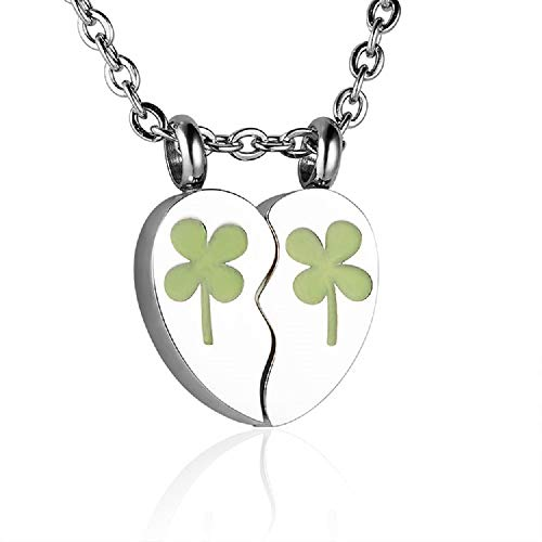 Heartfelt Split Heart with Four Leaf Clovers Cremation Jewelry Necklace Urn Memorial Keepsake Pendant for Ashes with Funnel Fill Kit
