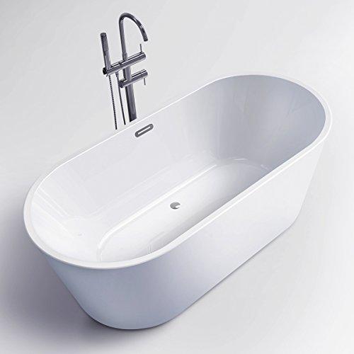 FerdY Freestanding Bathtub, Soaking Bath Tub, Stand Alone Tub for Bathroom, Contemporary Style, High Glossy, Acrylic, White (67) Bathtub Soaking Tub