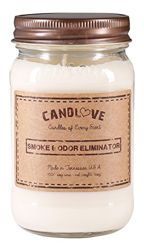 CANDLOVE Smoke and Odor Eliminator Scented 16oz Mason Jar Candle 100% Soy Made in The USA ()