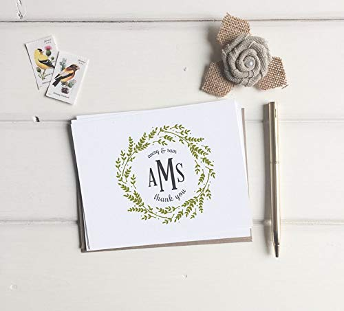Custom Monogram Thank You Cards. Wedding Monogrammed Thank You Card Set of 10. Thank You's Note Cards. Wedding gift Custom. Monogrammed card ()