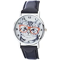 Lux Accessories Black and Silvertone Nerdy Cat Watch Face Watch