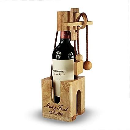 Puzzle botella de madera fina y clara - Personalizado con ...