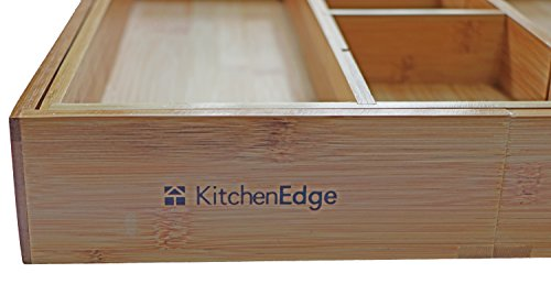 KitchenEdge Adjustable Bamboo Kitchen Drawer Organizer for Utensils and Junk, Expandable to 28 Inches Wide, 7 Compartments