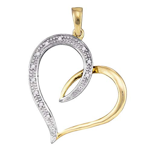 Dazzlingrock Collection 10kt Yellow Gold Womens Round Diamond 2-tone Heart Pendant 1/20 Cttw