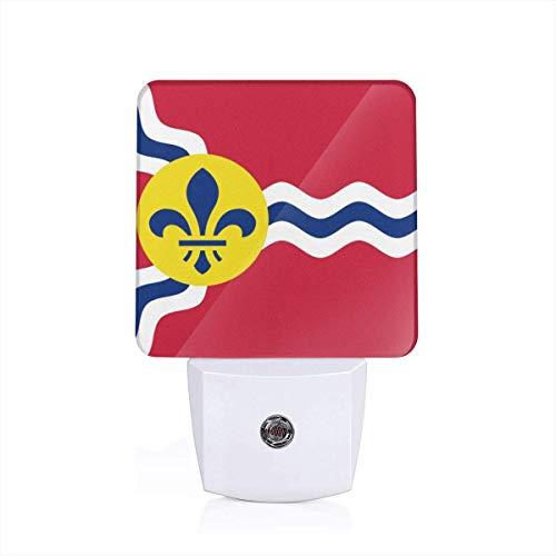(Flag of St. Louis, Missouri Sleep Night Light Nightlight Auto Sensor LED Dusk to Dawn Night Light Plug in Indoor for Adults)