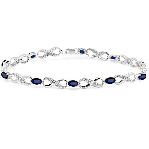 Sterling Silver Blue Sapphire & White Diamond Ladies Infinity Link Tennis Bracelet by DazzlingRock Collection