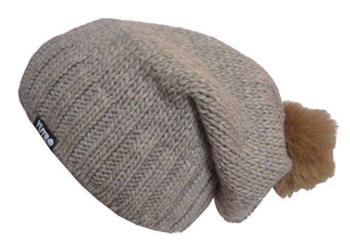 YUTRO Fashion Women's Wool Slouchy Fleece Lined Winter Beanie Hat with Rabbit Pom BROWN