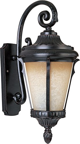 (Maxim 3015LTES Odessa Cast 1-Light Outdoor Wall Lantern, Espresso Finish, Latte Glass, MB Incandescent Incandescent Bulb , 40W Max., Dry Safety Rating, 2900K Color Temp, Standard Dimmable, Glass Shade Material, 6500 Rated Lumens)