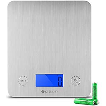 Etekcity EK6211 Digital Kitchen Multifunction Food Scale with Large Platform 11lb 5kg, Batteries Included (Stainless Steel)