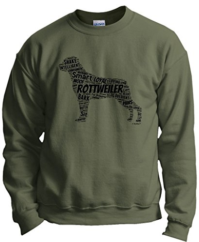 - Dog Accessories Rottweiler Word Art Dog Puppy Owner Gift Crewneck Sweatshirt 2XL MlGrn Military Green
