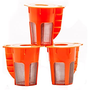 Coco K Cupz (3 Pack) – Reusable & Refillable – LARGE 5 Cup Brew Carafe K-Cups Tea/Coffee Pod Filters – Fits Keurig 2.0, K200, K300, K400, K500