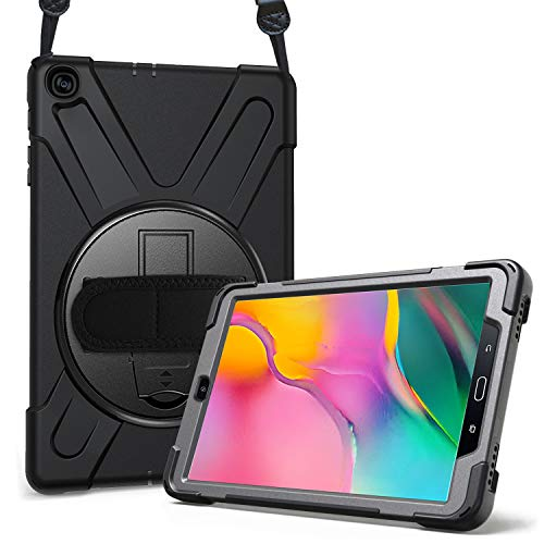 ProCase Galaxy Tab A 10.1 2019 Case T510 T515, Rugged Heavy Duty Shockproof Rotating Kickstand Protective Cover Case for 10.1 Inch Galaxy Tab A Tablet SM-T510 SM-T515 2019 Release -Black (Best Rugged Camera 2019)