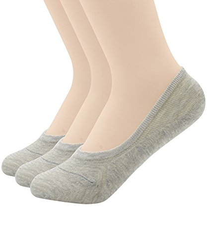 Zando Womens Anti Slip Low-Cut Silicon Heel Grip No-Show Socks D 3 Pairs Gray (Disposable Foot Sox)