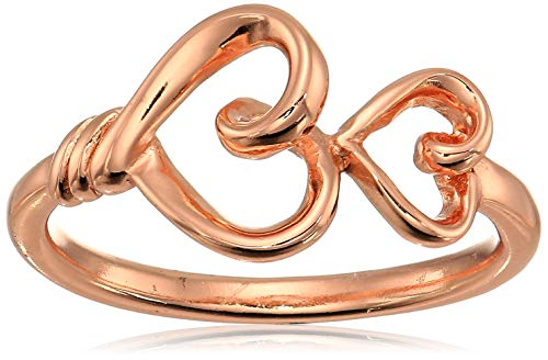 Women's Sterling Silver Rose Gold-Flashed Double Heart Ring, ()
