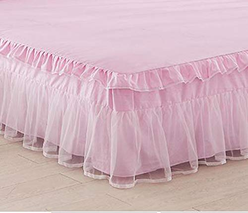 XRCQ Lace Ruffle Full Bed Skirt with 18 inch Drop Dust Ruffle Easy Fit Gathered Style 3 Sided Coverage Romantic Girls Bed Sheets (Full, Light Pink)