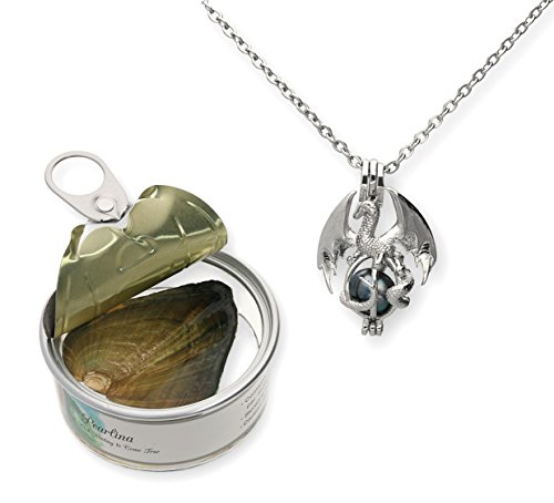 """Pearlina Dragon Cultured Pearl in Oyster Necklace Set Silver-tone Cage w/Stainless Steel Chain 18"""""""