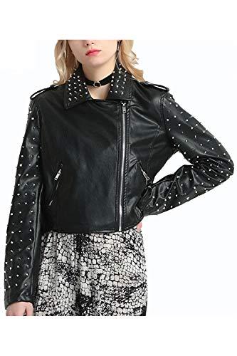 A Pu Donne Fanvans Maniche Sottili Lunghe Punk Rivet Giacca Outwear Black wpq6C6Htx
