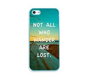 Not All Who Wander Are Lost Quote Aqua Silicon Bumper iPhone 5 & 5S Case - Fits iPhone 5 & 5S