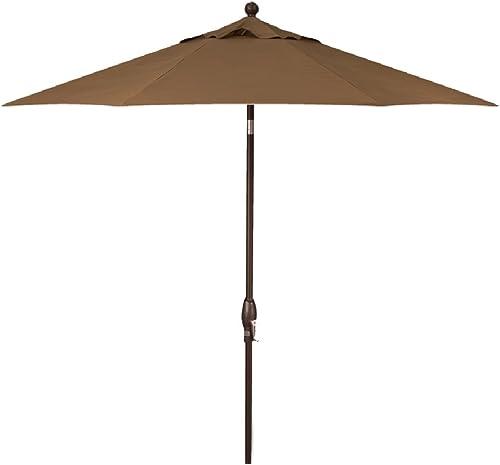 Galtech 9-Foot Model 636 Deluxe Auto-Tilt Umbrella with Mocha-Bronze Frame and Suncrylic Fabric Beige