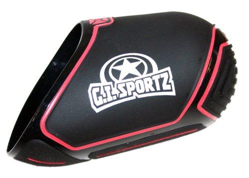 GI Sportz Exalt Carbon Fiber Tank Cover-Fits 45ci, 50ci Paintball Tank - BK/RD by GI Sportz
