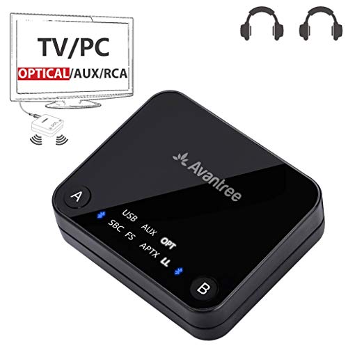 Avantree 2018 Audikast aptX Low Latency Bluetooth 4.2 Audio Transmitter for TV PC (Optical Digital Toslink, 3.5mm AUX, RCA, PC USB) 100ft Long Range, Dual Link, No Delay