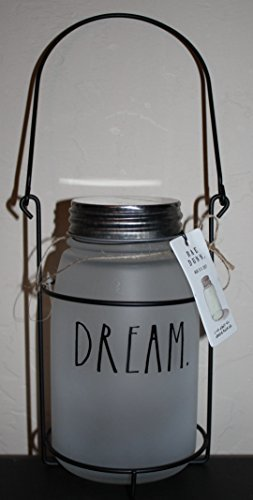Rae Dunn DREAM. in large letters Frosted Glass Mason Jar Tea Light Candle Holder with Carrying Rack and Handle. By Magenta.