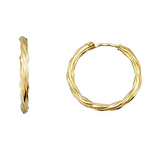 Boucled'oreille 18k hoop d'or torsadé 18mm. [AA6318]