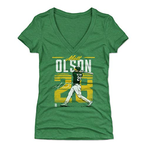 500 LEVEL Matt Olson Women's V-Neck Shirt XX-Large Heather Kelly Green - Oakland Baseball Women's Apparel - Matt Olson Retro Y WHT
