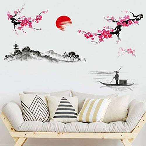 Wall Stickers - Chinese Style Landscape Painting Plum Clubs Ink And Wash Wall Sticker Home Decor Living Room - Picture Always Disney 29 Rainbow Bible Glow Skyline Art Sayings