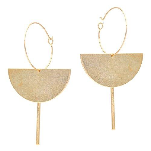 Golden Dangle Earrings Drop Hoops Studs Cuffs Ear Wrap Pin Vine Long Dangling Geometric Charms Jewelry Bar (Earrings Geometric)