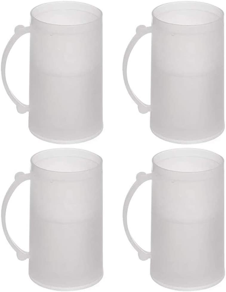 4 Set Freezer Mugs 14 oz Frosty Freezer Mug Keep Drink Cold Ice Frozen Cup New