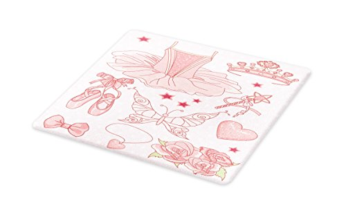 Princess Rose Bread (Lunarable Princess Cutting Board, Fantastic Princess Ballerina Accessories Classic Costume Shoes Tiara Roses, Decorative Tempered Glass Cutting and Serving Board, Large Size, Rose Pale Pink)