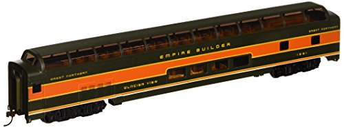 Bachmann Ho 85' Full Dome - 85' - Budd Full Dome - Great Northern (Orange and Green) Passenger Car with Lighted Interior. HO Scale