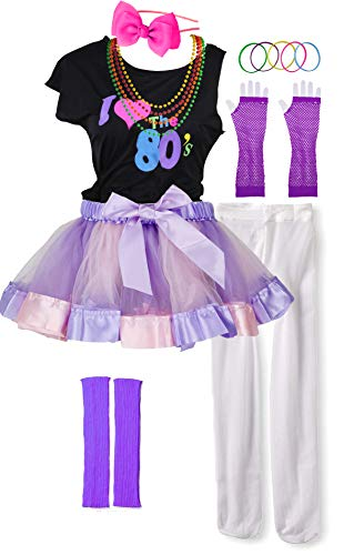 Pop Stars Costumes (I Love 80s Pop Party Rock Star Child Girl's Costume Accessories Fancy Outfits (7-8,)