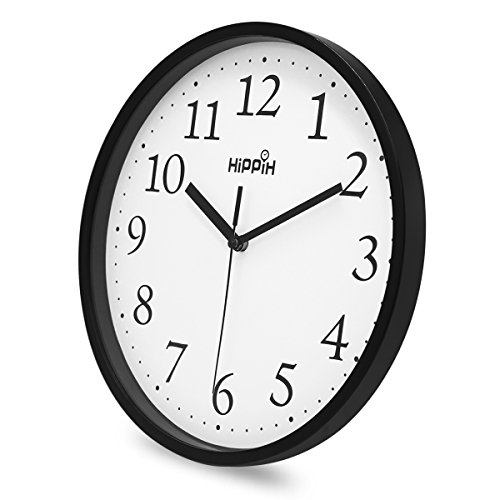 Hippih-Black-Wall-Clock-Silent-Non-Ticking-Quality-Quartz-10-Inch-Round-Easy-to-Read-For-Home-Office-School-Clock