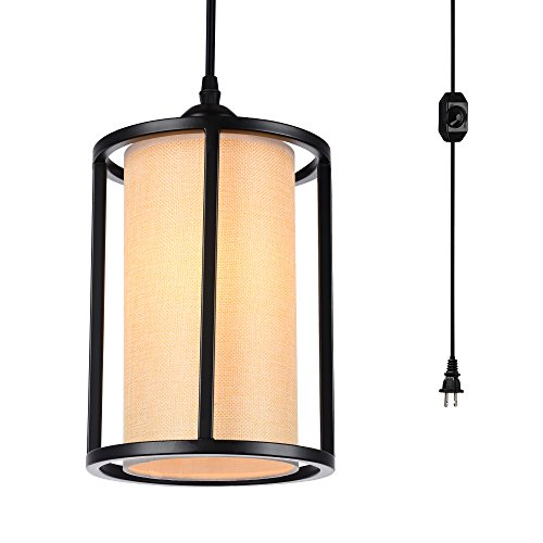 HMVPL Swag Lights with Plug in Cord and On/Off Dimmer Switch, New Transitional Hanging Pendant Lamps with Linen Lampshade for Dining Room, Bed (Metal Swag)