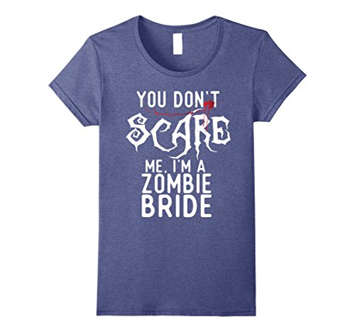 Make A Zombie Bride Costume (Womens Funny Zombie Bride Shirts Halloween Costume Joke Gag Gifts. Small Heather Blue)