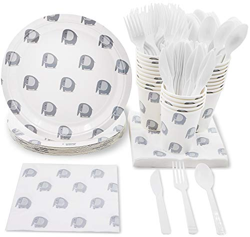 Blue Panda Elephant Animal Pattern Party Supplies for Baby Showers and Birthdays - Plates, Knives, Spoons, Forks, Napkins, and Cups, Serves 24]()