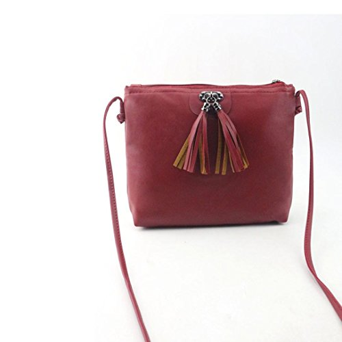 Single Messenger Lady TOOPOOT Vintage Shoulder Handbag Red PU Leather Women Bag Bag Tassel Casual Shoulder wqx7f7gX